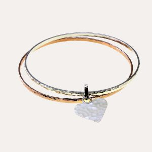 Double Heart Bangle Rose Gold/Silver