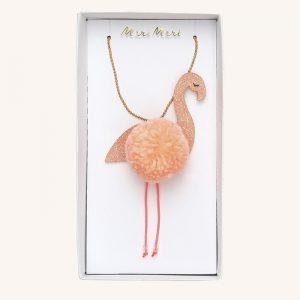 Flamingo Pom Pom Necklace