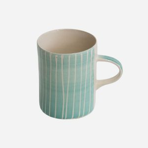Handmade Demi Mug Mint Sgraffito