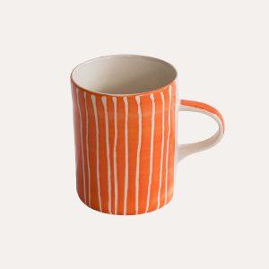 Handmade Demi Mug Tangerine Sgraffito