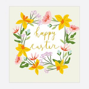 Happy Easter Floral Wreath Card
