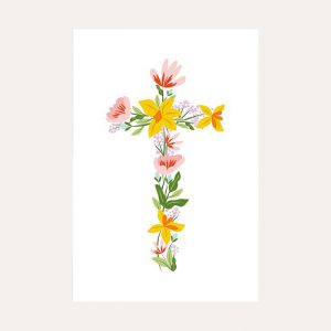 Easter Floral Cross Pack of 10 Cards
