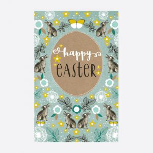 Happy Easter Bunny & Florals Pack of 6 Cards
