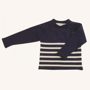 Cotton Knit Jumper Striped Navy/White