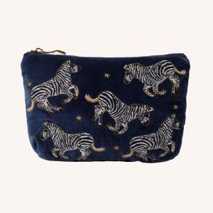 Zebra Make Up Bag Indigo