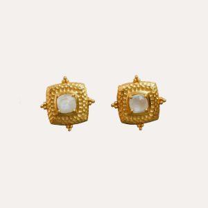 Gold & Moonstone Decorative Stud Earrings