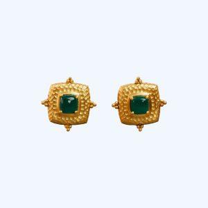 Gold & Green Decorative Stud Earrings