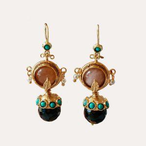 Black Ottoman Ball Drop Earrings