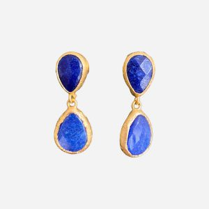 Small Double Tear Cobalt Earrings