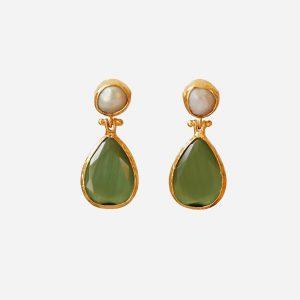 Pearl & Olive Teardrop Earrings