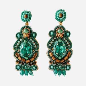Ornate Green Drop Earrings