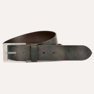 Italian Leather Belt Raw Aspect Dark Brown