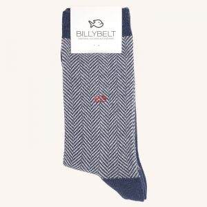 Herringbone Cotton Socks Navy