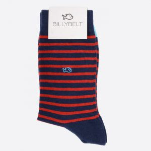 Stripe Cotton Socks Navy and Red