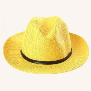 Leather Band Fedora Yellow