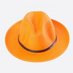 Leather Band Fedora Orange
