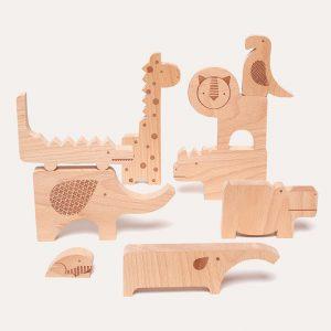 Safari Wood Puzzle and Play Set