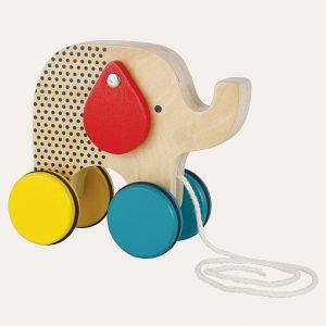 Wooden Jumbo Jumping Elephant Pull Toy