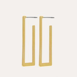 Theia Open Square Earrings Gold