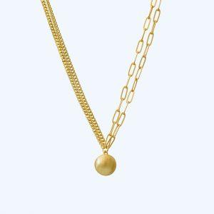 Tabitha Circle Panzer Necklace Gold