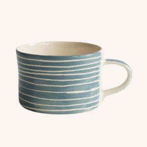 Handmade Mug Dove Grey Sgraffito