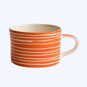 Handmade Mug Tangerine Sgraffito