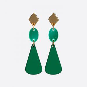 Chandelier Drops Earrings Emerald and Green Mirror
