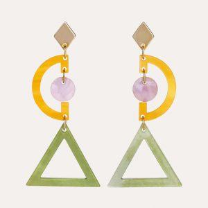 Graphics Earrings Jade Stone