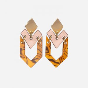 Houndstooth Earrings Tiger Shell