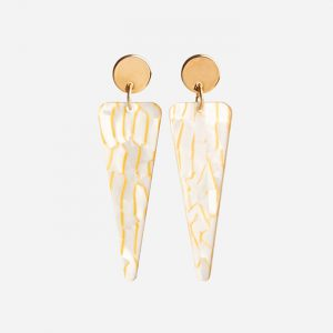 Icicles Earrings White Crackle
