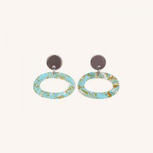 Ovals Earrings Blue Shell