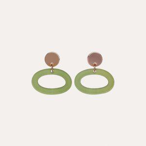 Ovals Earrings Jade Stone