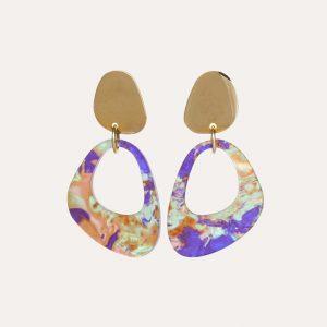 Pebble Drops Earrings Blue Splatter