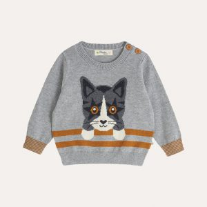 Eccentric Knitted Cat Sweater Grey