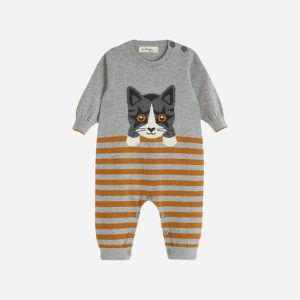 Edie Knitted Cat Playsuit Grey