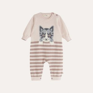 Edie Knitted Cat Playsuit Pink