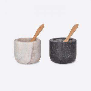 Brompton Salt & Pepper Pots Marble & Granite