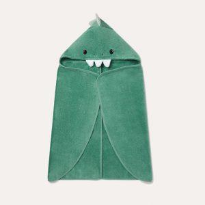 Hooded Toddler Bath Towel Green Dinosaur
