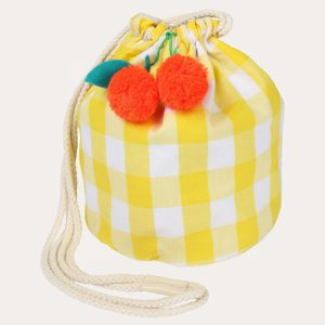 Cherry Gingham Drawstring Bag