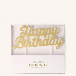 Happy Birthday Gold Candle