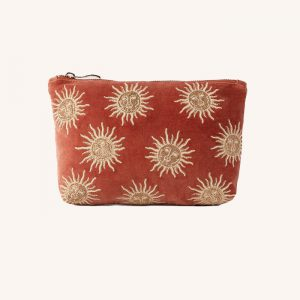 Sun Goddess Velvet Make Up Bag Rust