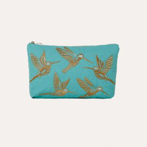 Hummingbird Everyday Travel Pouch Turquoise