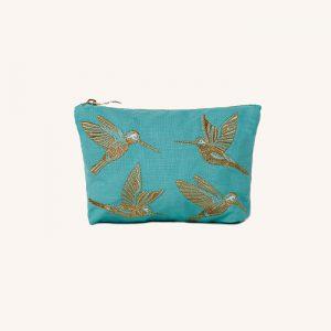 Hummingbird Make Up Bag Turquoise