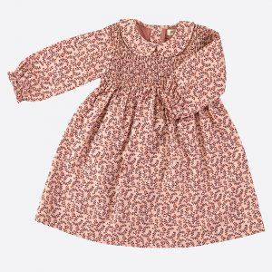 Smock Peter Pan Collar Dress Leaf Pink