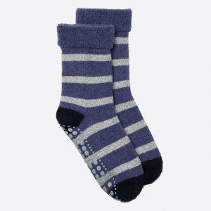 Glitter Stripe Slipper Socks Purple/Silver