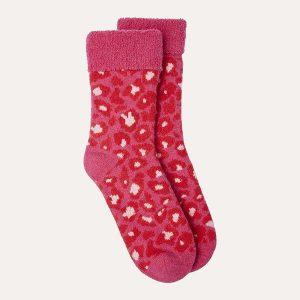 Leopard Slipper Socks Red/Pink