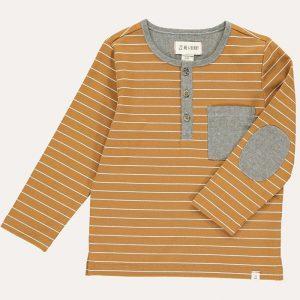 Linden Henley Top Mustard/White Stripe