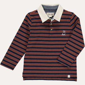 Waverley Polo Top Brown/Navy Stripe
