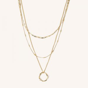 Open Circle Three Row Necklace Gold
