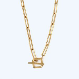 Linear Square T-Bar Necklace Gold